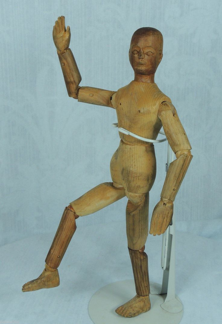 Antique carved wooden fully jointed articulated artist