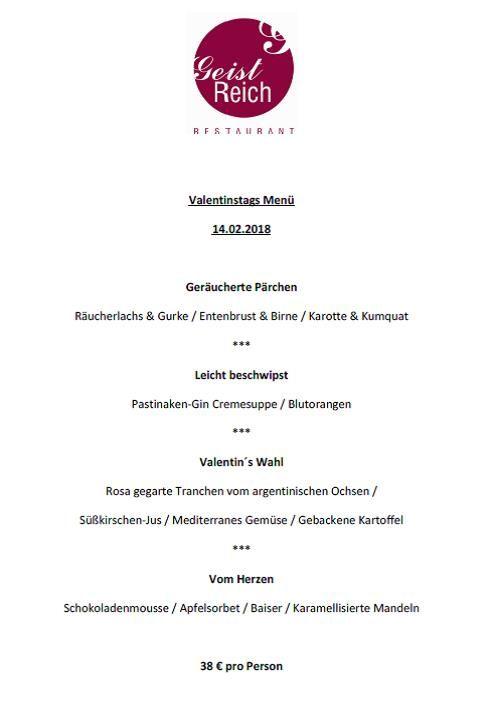 Valentin…….Tag der Liebenden und Geliebten.... Ein schöner Anlass, wieder mal mit einer geliebten Person einen gemeinsamen Abend zu zweit zu verbringen. Wer auch immer Ihr Lieblingsmensch ist, laden Sie ihn doch wieder einmal ein zu einem köstlichen Abendessen in unser Restaurant GeistReich im Bielefelder Hof. Schlemmen und plaudern Sie bei einem romantischen 4-Gang-Menü, das sich unser Küchenchef Rafael Kucharski dafür ausgedacht hat. #GeistReich #Loveisintheair #TagderLiebenden #Menü