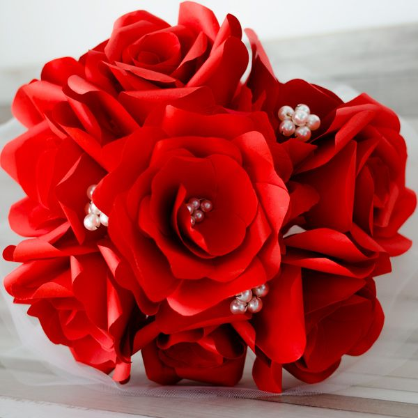 Product ID: BC0010We custom make beautiful bridal bouquets with red paper roses and ivory pearls. Paper flower bouquets are very suitable for religious or civil ceremony. Keep forever the memory of the most beautiful moment of your life!All our products are handmade.This bouquet can be done in medium or large size.For prices please send me an email with the product ID at hello@thediywedding.comImpress! Be unique! Be creative!We believe we can help you have the most amazing wedding! Call us!