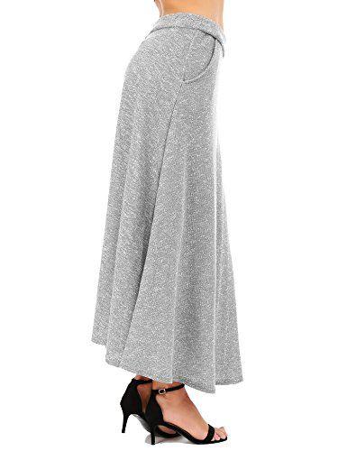 dcf788bb87a FISOUL aux Femmes Ancien Une Ligne Jupe évasée Taille Haute Jupe Longue Jupe  Midi Chute Hiver