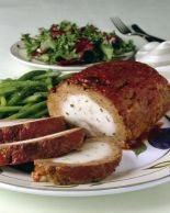 FANCY meatloaf recipe with a delicious mushroom, mozzarella and fresh herb fil