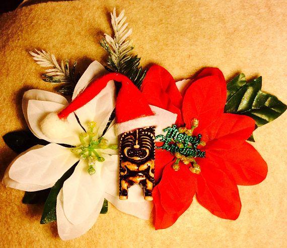 Hawaiian Tropical Tiki Christmas Rockabilly Hair Flower Pinup Flowers In Hair Merry Christmas Sign Tiki