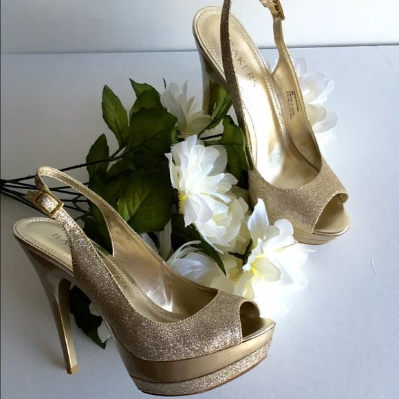 Champagne Colored Platform Heels Gorgeous like new platform heels   •Champagne colored with shimmer like material  JUST STUNNING  Worn just 1 night. Purchased at Bakers for 95$  Would be a perfect match with the Orange colored prom dress I am selling. Bakers Shoes Heels
