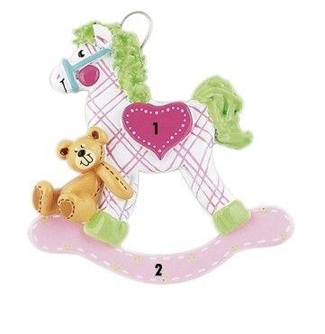 Dievčenský ornament prvé Vianoce hojdací koník