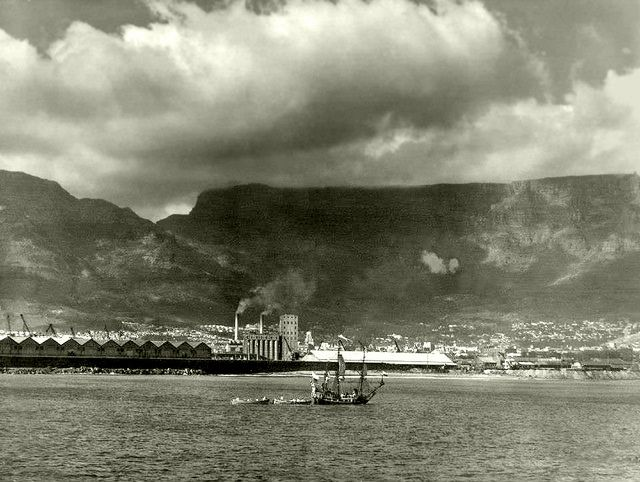 Would you travel 8400 miles in this?.. Jan van Riebeeck did when he sailed from Rotterdam to the southern tip of Africa in 1652. This is the replica of the Dromedaris at the Van Riebeeck festival in 1952.| Flickr - Photo Sharing!