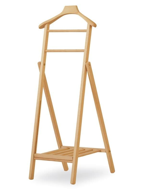 Collapsible clothes rack in beech, for apartment