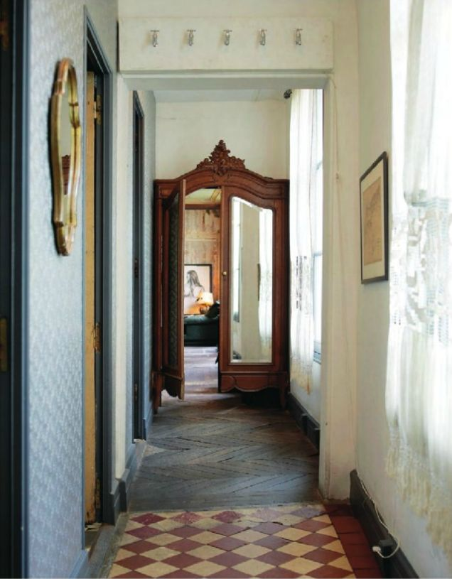 Front of an armoire repurposed as door/entryway. (from a decorating book– Modern vintage style)