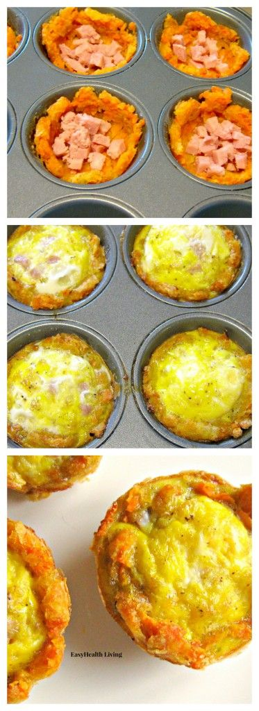 Sweet Potato Breakfast Cups- Quick, healthy breakfast made with sweet potatoes, lean ham and eggs.