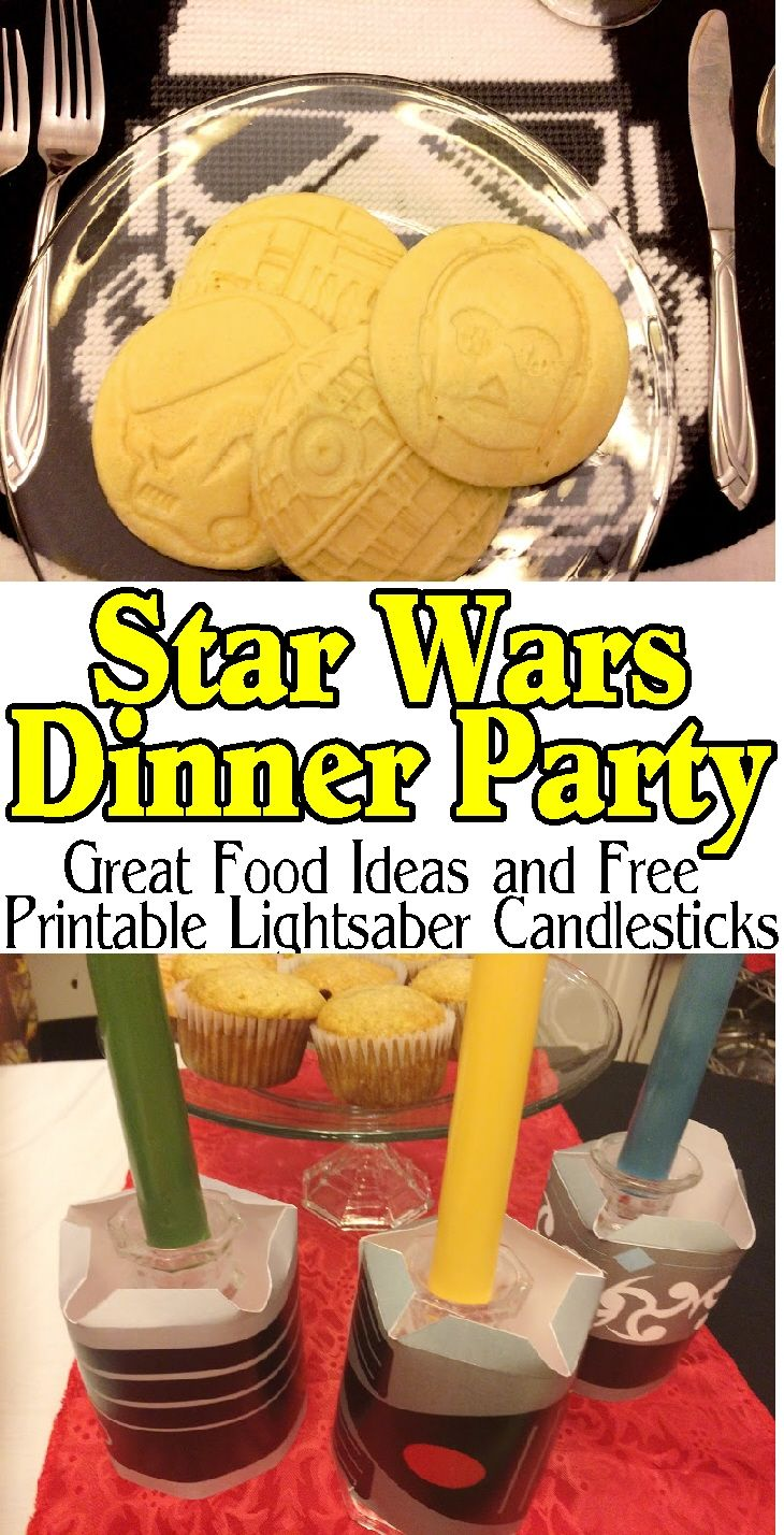 Enjoy a delicious dinner before going to see the new Star Wars movie while enjoying a fun Star Wars dinner party with your family and friends. With these great party food ideas, party decorations, and awesome Light saber candlesticks, you will be on the winning side no matter what happens on screen. #ad #eggostarwarspancakes #starwars #dinnerparty #movieparty