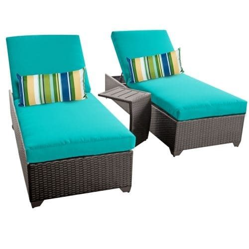 Miseno MPF-CLASC2X-ST Traditions 3-Piece Aluminum Framed Outdoor Chaise Lounge Chair Set with Side Table (