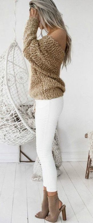 Golden brown long-sleeved top and white pants
