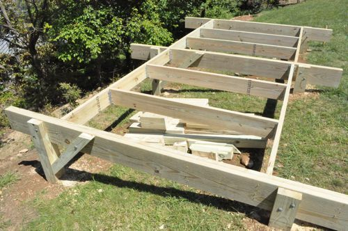 How to build a post beam shed foundation on a slope for Garden shed on decking