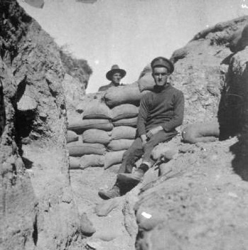 Two soldiers of the Canterbury Battalion, New Zealand Brigade, in a trench at Gallipoli, May 1915