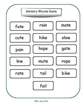 Memory Rhyme Game is ideal for reluctant & emerging readers, as well as, ESL students.
