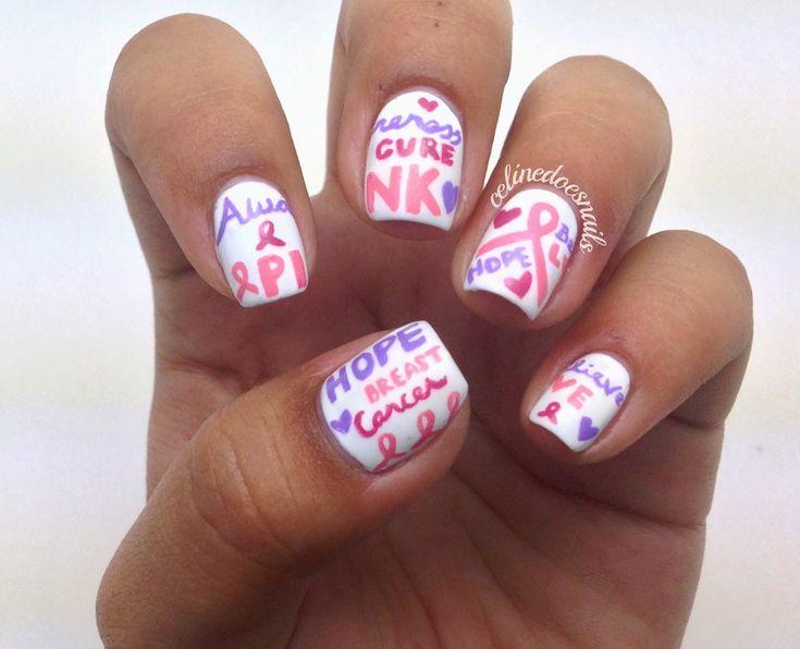 Nägel durch Celine: Brustkrebs-Bewusstseins-Nagelkunst   – October Nails