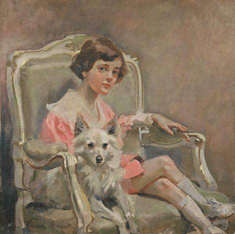 Wojciech Kossak, girl with a dog on ArtStack #wojciech-kossak #art
