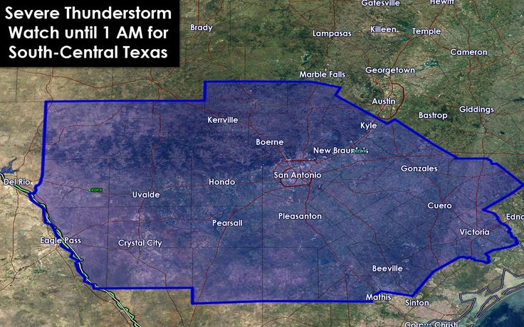 8PM: A severe thunderstorm watch has been issued for South-Central Texas until 1 AM. Uvalde, Crystal City, Kerrville, San Antonio, Pleasanton, Beeville, Victoria, Gonzalez, New Braunfels, and Kyle are included in this watch. The strongest storms this evening may produce hail up to the size of ping-pong balls and localized damaging wind gusts over 60 MPH. #txwx