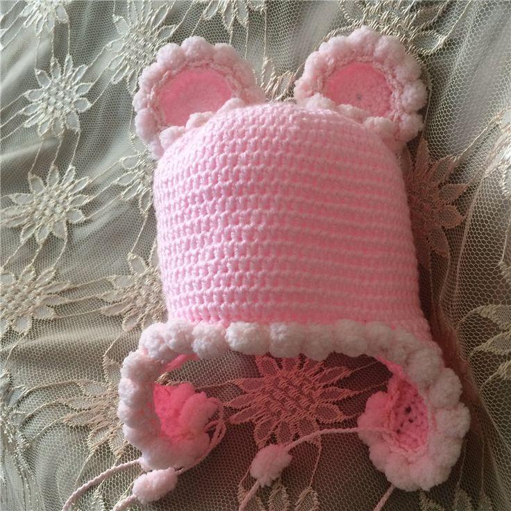 Neonato mohair orso orecchio cofano colore bianco 0-3 mesi neonato cappello del bambino handmade knit mohair morbido cappello neonato fotografia puntelli