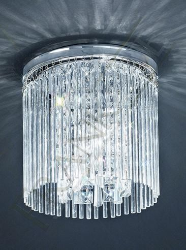 The Charisma Bathroom Ceiling Light by Franklite Lighting is available from Ocean or Luxury Lighting. The Franklite Charisma Bathroom Ceiling Light is in a chrome finish with glass rods surrounding a central column of crystal glass drops.
