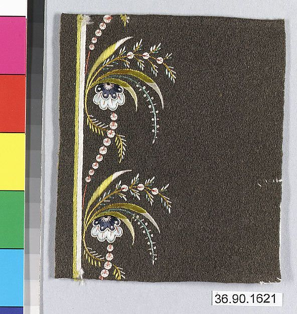 Sample Date: early 19th century Culture: French Medium: Silk on felt Dimensions: L. 4 x W. 3 1/2 inches 10.2 x 8.9 cm Classification: Textiles-Embroidered Credit Line: Gift of The United Piece Dye Works, 1936