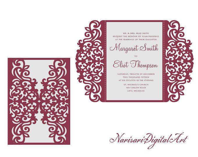 5 x 7'' tarjeta de invitación de boda de SVG DXF CDR-doblez de la puerta láser corta plantilla, quinceañera, vector archivo patrón, Silhouette Cameo, Cricut