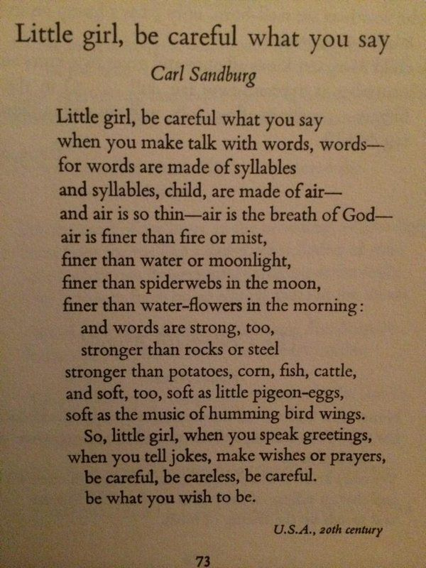 Little Girl, Be Careful What You Say | Poem by Carl Sandburg from 'Wind Song' book