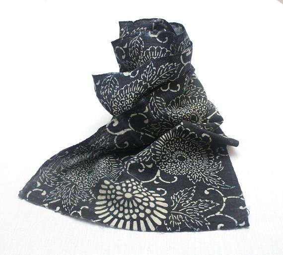 Antique Indigo. Hand Loomed Japanese Katazome Cotton. Aizome.