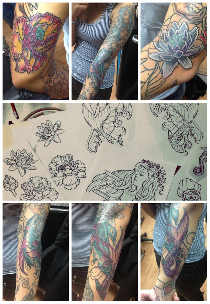 Custom mermaid tattoo sleeve (work in progress) by Alixandra Bamford