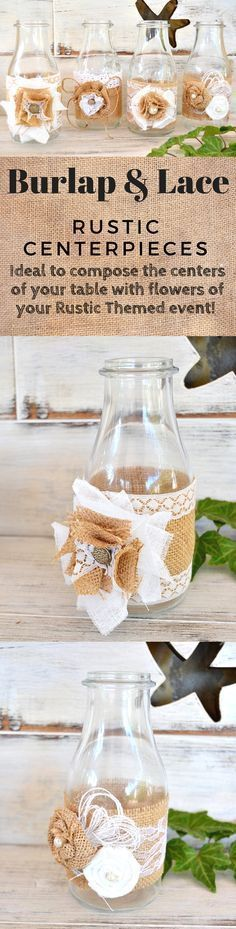These look like old timey milk jars! What a cool way to  have a back in time feel! - Etsy.com -  #rusticdecor #rustic #decor #burlap #lace #affiliate