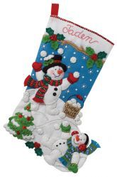 Bucilla felt stocking kit ~ new release (Feb 2012). Kit is entitled Snowman Games.