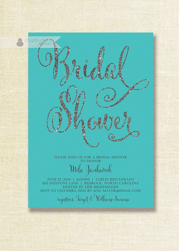 Tiffany Blue & Silver Glitter Bridal Shower Invitations in turquoise teal with silver glitter script details by digibuddhaPaperie, $20.00