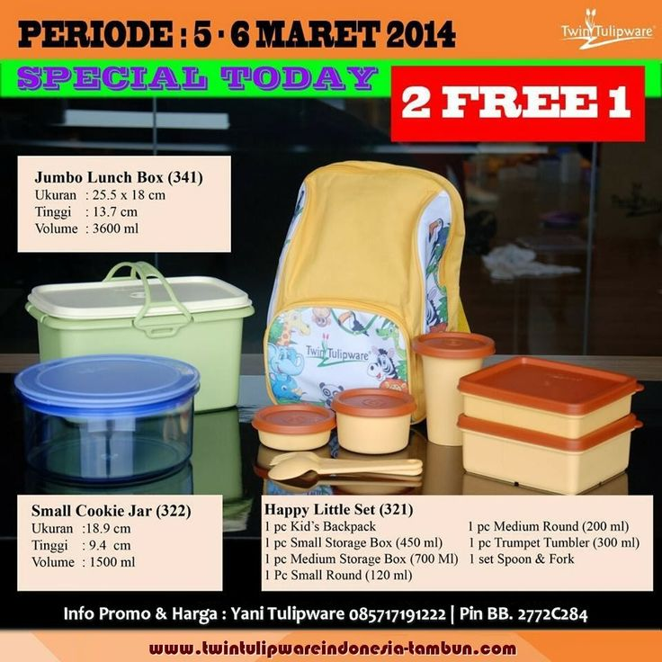Promo Harian 2 Free 1 Tulipware 5 - 6 Maret 2014 : Jumbo Lunch Box | Small Cookie Jar |  New Happy Little