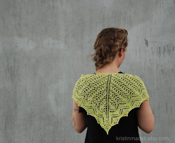 Beautiful hand knit shawlette by KristinMadeIt on Etsy