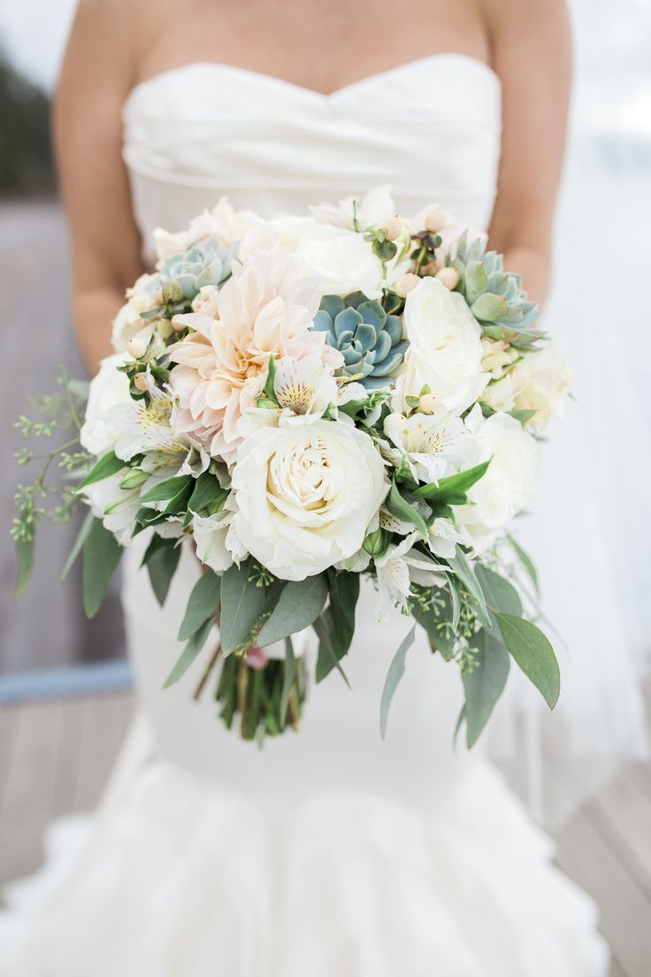 Lush bridal bouquet, white roses, succulents, cafe au lait dahlia // Nicole Quiroz Photography