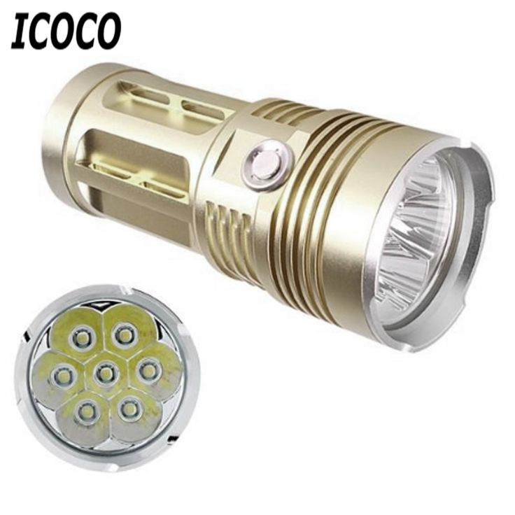 ICOCO 7 LEDs Aluminum Alloy Super Bright High Power Flashlight Lamp 1200LM for Outdoor Camping Fishing Hiking 25W New Arrival #Affiliate