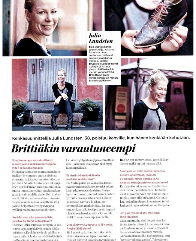 Interview with Julia Lundsten, Designer and Owner of a London-based shoe brand FINSK, at Me Naiset Magazine - September issue 2014.  For more details click here: http://www.martavaltovirta.com/portfolio/naiset-september-2014/