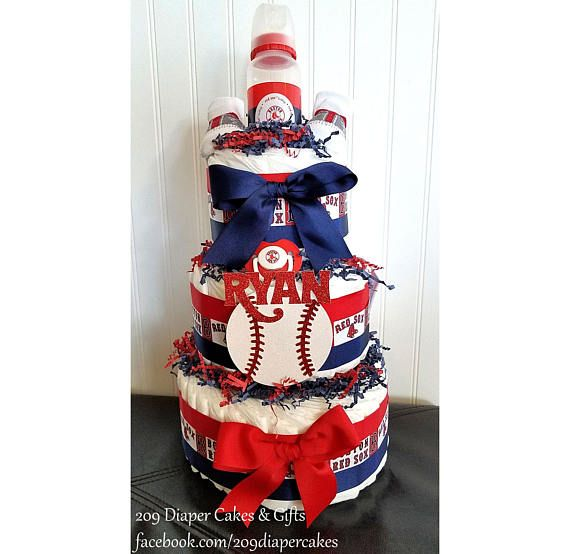 Perfect for the little Red Sox fan! This custom red, white and blue Boston Red Sox diaper cake can be personalized and would be perfect as a gift or centerpiece for your next baby shower! This diaper cake is ready to be shipped and will include 55-60 #2 diapers, socks, Red Sox pacifier, bottle and bib. Socks may vary.   ---------------------------------------------------------------------------------------------------------------------------------------  *** PACIFIER CLIP *** If you would…