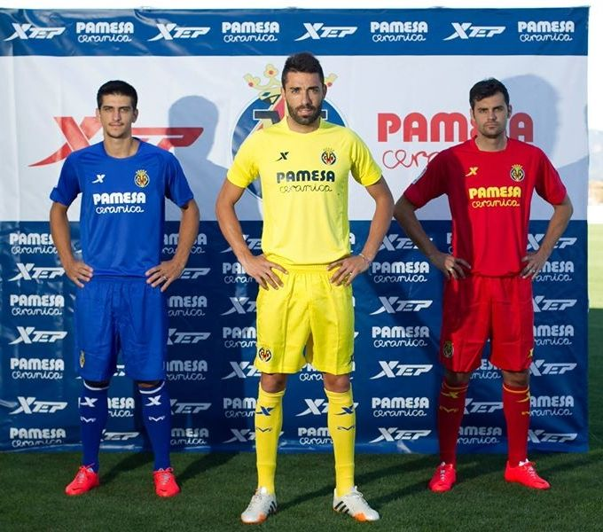 Villarreal 2014-15 Xtep Home(Yellow), Away(Blue), Third(Red)