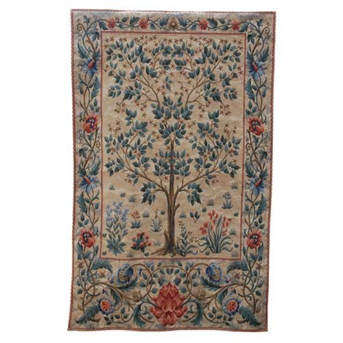 This graceful wall tapestry has been woven on a Jacquard loom by Master Flemish weavers. Giving an exceptionally fine detail to the weave, a designs which fits comfortably into today's interiors. From an original wall hanging by William Morris 1836-1896 woven at Merton Abbey, Surrey. View online: http://www.english-heritageshop.org.uk/homewares/tree-of-life-pale-large-tapestry