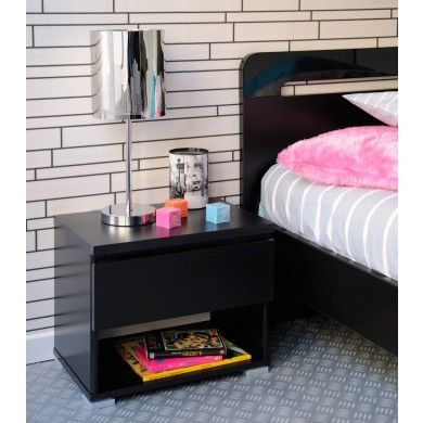 High Tek 7 Bedside Table In Black With A Single Drawer And Storage Space  Beneath.