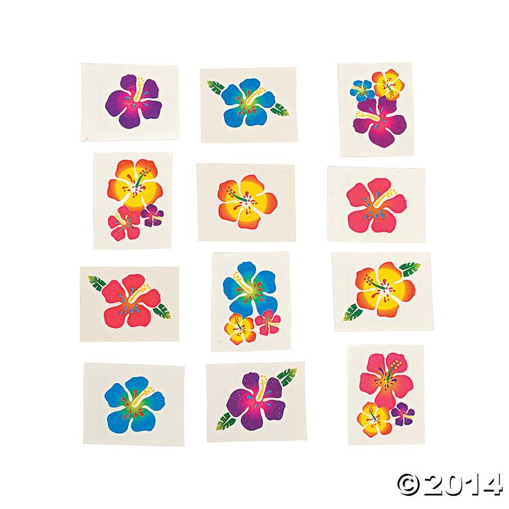 Luau Party Supplies: Hibiscus Glitter Tattoos 72pk Party Supplies Canada - Open A Party