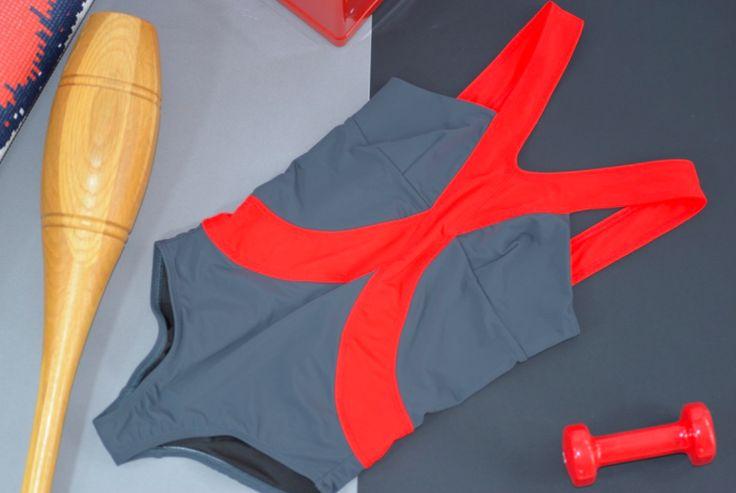 Harness Swim Suit: FIERY RED