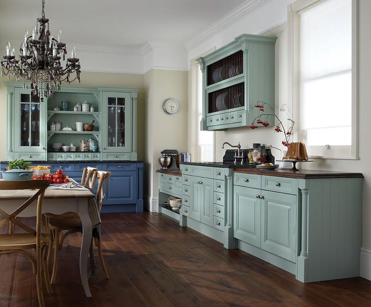 Blue Painted Kitchen Cabinets vintage-country-kitchen-decor-with-classic-chandelier-and