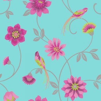 I Love Wallpaper Exotic Eden Bird Wallpaper Teal / Pink  / Green / Silver