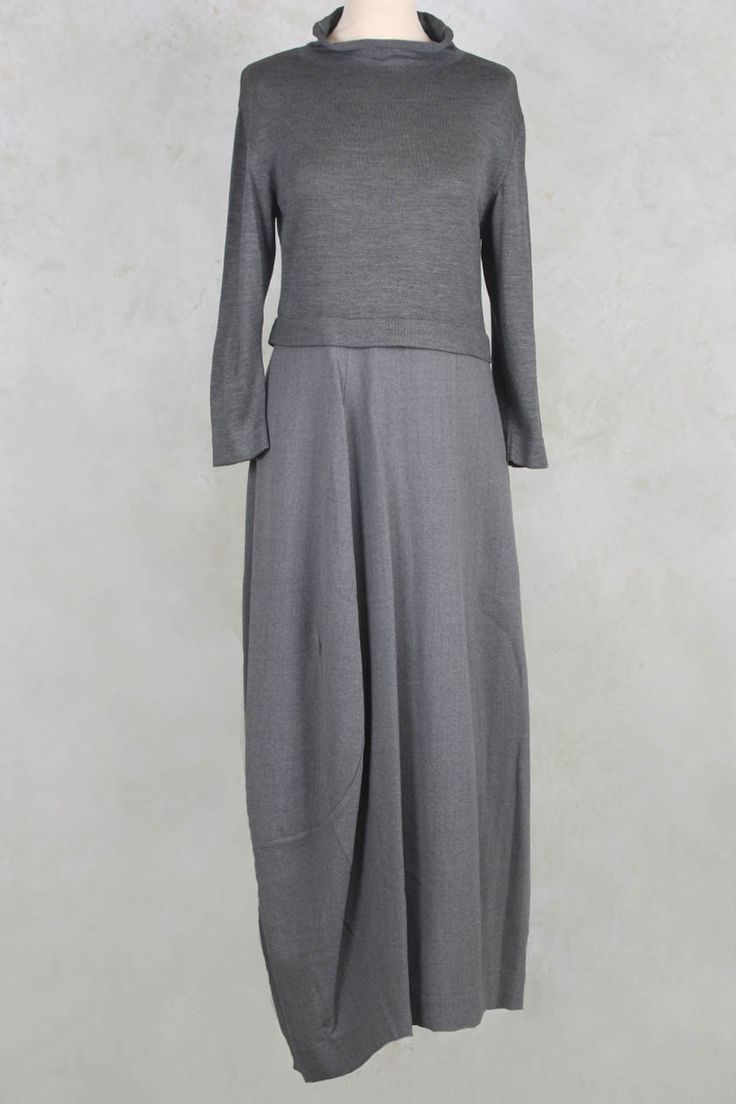 Long Dress with Knit Bodice and Roll Neck - Crea Concept
