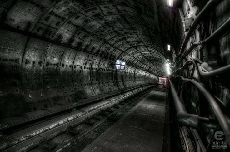 A photo of an underground tunnel that is used by the DLR trains at London's Bank station. #UndergroundTunnel