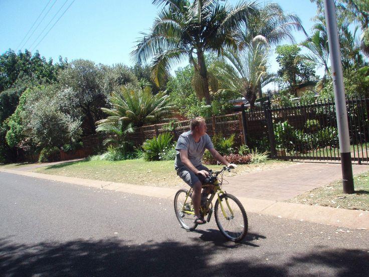 Customer enjoying his motorised bike!