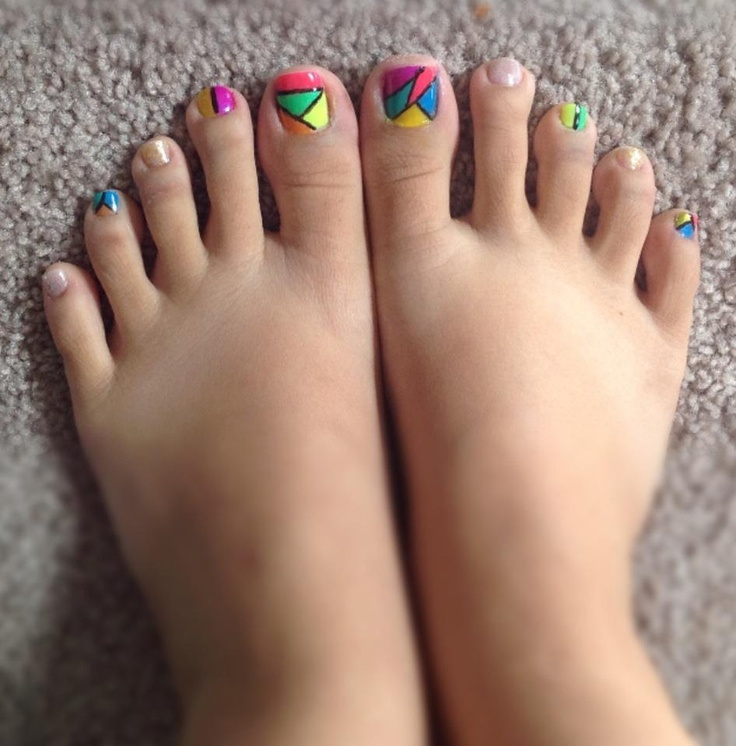 color block toenails design in 2019 | Bridal nails designs ...