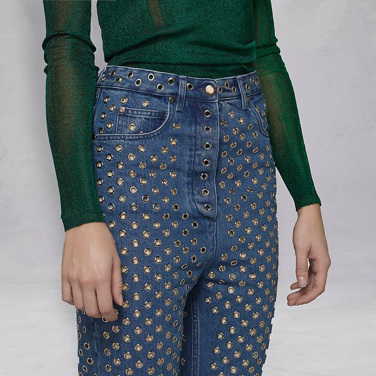 Jeans 5 tasche Slim con borchie in metallo - G29WP049.A1 - Golden Goose