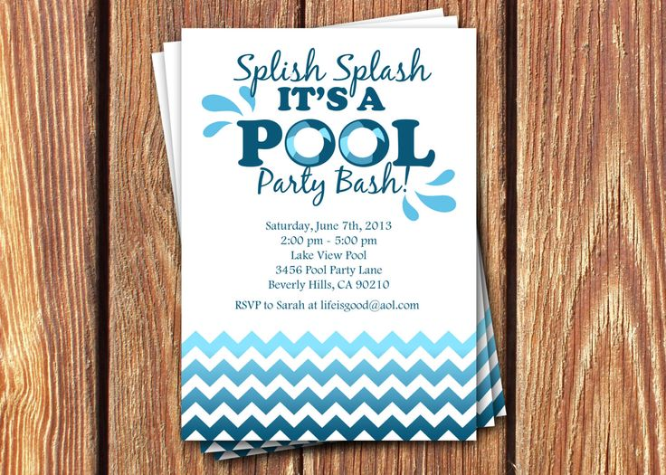 Pool Party Birthday Invitations by FromHeadtoToeDesigns on Etsy, $12.00